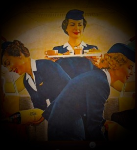 Airhostesses serving meals vintage