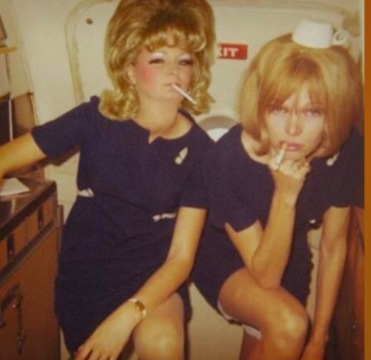 Airhostesses smoking